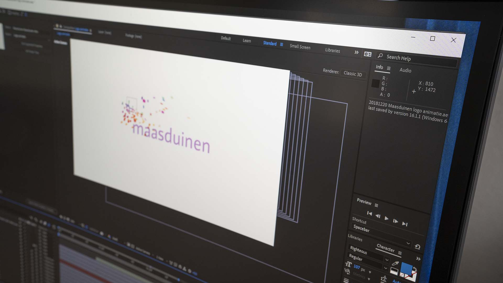 Animatie logo after effects Zinst